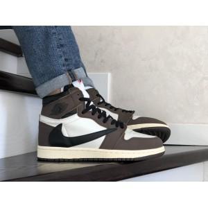 Кроссовки Nike Air Jordan,коричневые с белым