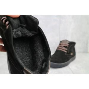 Ботинки мужские Yuves 777 черные (замша, зима)
