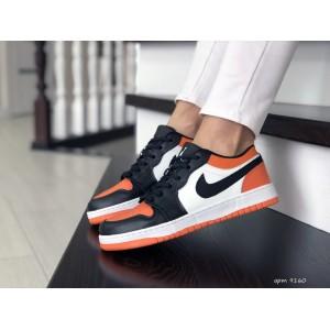 Женские кроссовки Nike Air Jordan 1 Low ,белые с черным/оранжевым