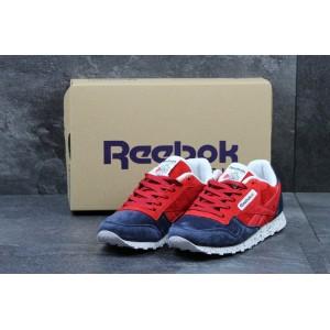 Женские кроссовки Reebok Classica,замшевые,темно синие с красным 36