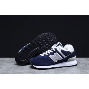 Зимние женские кроссовки 31355, New Balance 574 (мех), темно-синие [ ] р.(38-24,0см)
