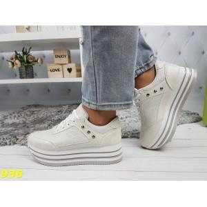 Кроссовки на высокой платформе белые с серебристым напыление