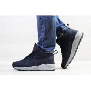 Подростковые зимние кроссовки Nike Huarache,синие с серым,на меху 40р