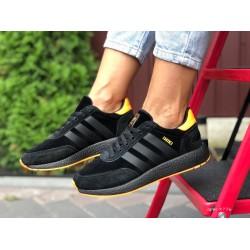 Женские (подростковые) кроссовки Adidas Iniki,черные с оранжевым