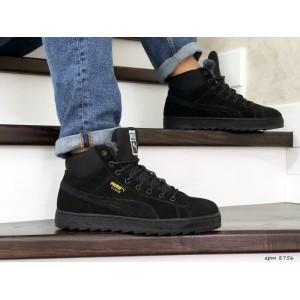 Высокие зимние замшевые кроссовки Puma Suede,черные