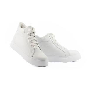 Женские ботинки кожаные зимние белые Yuves 595