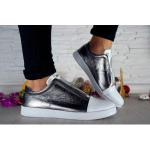 Женские кожаные кеды Puma белые с серебром