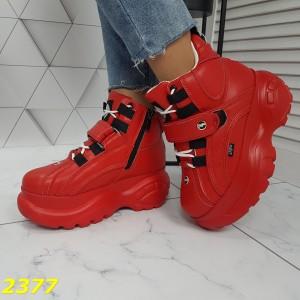 Кроссовки ботинки на высокой платформе зимние красные
