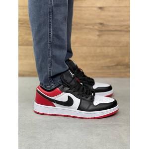 Мужские кроссовки Nike Air Jordan 1 Low Black/Red (Черно белые с красным)