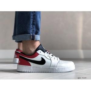 Мужские весенние кроссовки Nike Air Jordan 1 Low, белые с красным