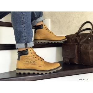Мужские зимние ботинки Levis,на меху,горчичные