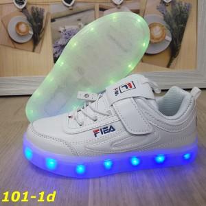 Детские кроссовки белые фила светящиеся с подсветкой Led 32-37р
