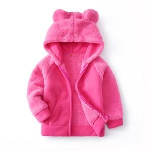 Кофта для девочки флисовая утеплённая Круглые ушки, розовый Berni