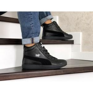 Высокие зимние кроссовки Puma Suede кожаные,черные