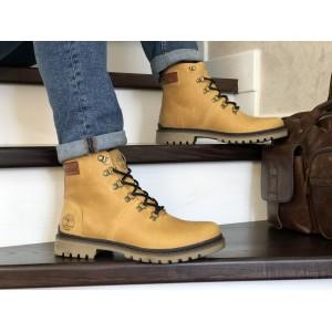 Мужские зимние кожаные ботинки Timberland,Тимберленд,на меху,светло коричневые