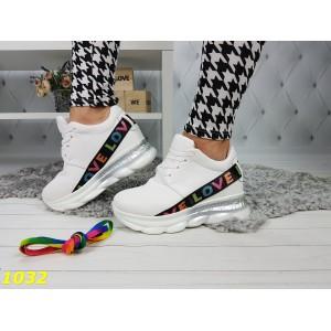 Сникерсы кроссовки белые с танкеткой на платформе Love