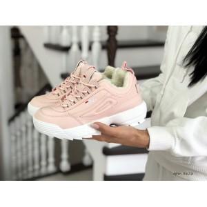 Модные женские зимние кроссовки Fila,розовые (2019)