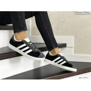Женские замшевые кроссовки Adidas Gazelle,серые с черным
