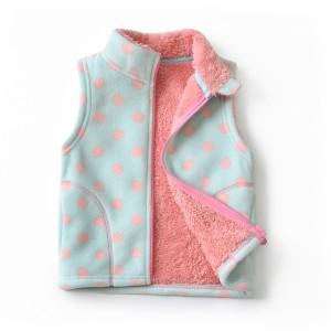 Жилет для девочки флисовый утеплённый Розовый горошек Berni