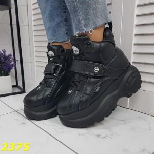 Кроссовки ботинки на высокой платформе зимние черные