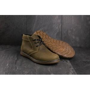 Ботинки Yuves 801 (Clarks) (зима, мужские, натуральная кожа, оливковый)