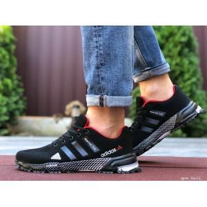 Мужские летние кроссовки Adidas Marathon TR 26,сетка,черные с красным