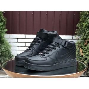 Высокие зимние женские,подростковые, кроссовки Nike Air Force,черные