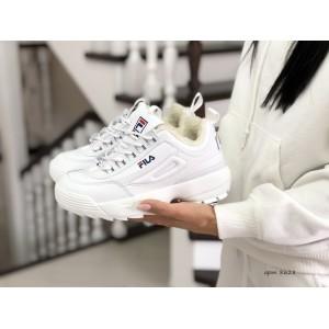 Модные женские зимние кроссовки Fila,белые (2019)