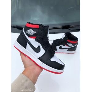 Модные подростковые кроссовки Nike Air Jordan, черные с белым/красным