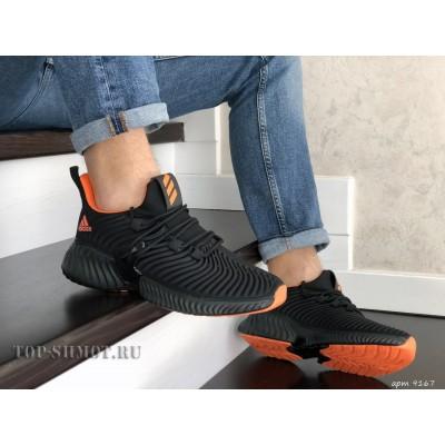 Мужские демисезонные кроссовки Adidas,текстиль,черные с оранжевым