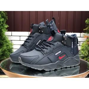 Мужские зимние кроссовки Nike Huarache,темно синие