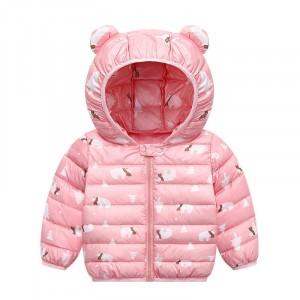 Куртка-пуховик для девочки Белые мишки, розовый Berni