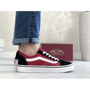 Мужские кеды Vans,замшевые,красные с черным