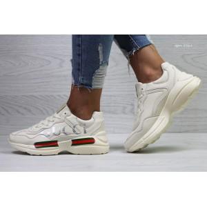 Модные женские кроссовки Gucci ,бежевые