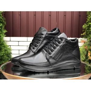 Мужские зимние кожаные ботинки (полуботинки) VanKristi Black,на меху
