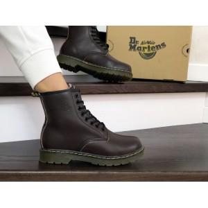 Женские зимние ботинки Dr. Martens,кожаные,коричневые