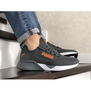Весенние мужские кроссовки Puma,текстиль,черные с оранжевым