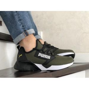 Весенние мужские кроссовки Puma,текстиль,темно зеленые