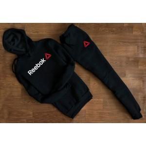 """Черный спортивный костюм REEBOK с капюшоном (мелкое лого) """""""" В стиле Reebok """""""" 1253"""