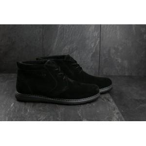 Ботинки Yuves 801 (Clarks) (зима, мужские, замша, черный)