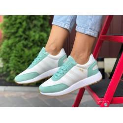 Женские (подростковые) кроссовки Adidas Iniki,белые с мятным