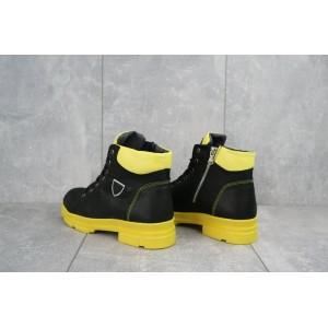 Ботинки женские BENZ 71205 черные-желтий (натуральная кожа, зима)