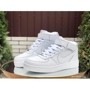 Высокие зимние женские кроссовки Nike Air Force,белые