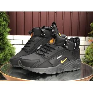 Мужские зимние кроссовки Nike Huarache,черные с оранжевым
