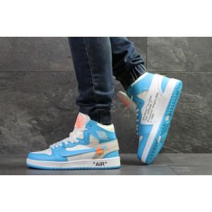 Мужские высокие зимние кроссовки Nike Air Jordan 1 Retro,голубые с белым 42р