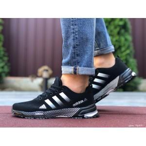 Мужские летние кроссовки Adidas Marathon TR 26,сетка,черно белые