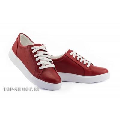 Женские кеды кожаные весна/осень красные Yuves 591 Red Leather