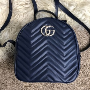 Gucci GG Marmont Quilted Backpack Blue