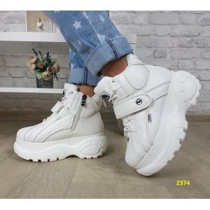 Кроссовки ботинки на высокой платформе зимние белые
