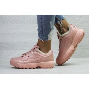 Женские зимние кроссовки Fila,розовые,на меху